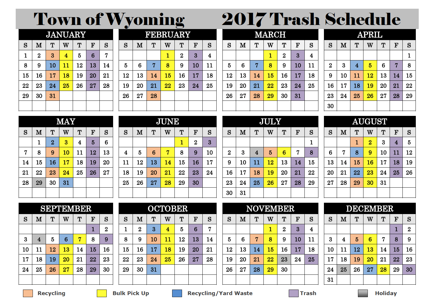2017 Trash, Recycling and Yard Waste Schedule